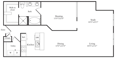 1,114 sq. ft. O floor plan
