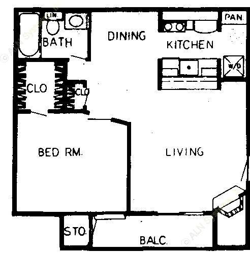 561 sq. ft. C floor plan