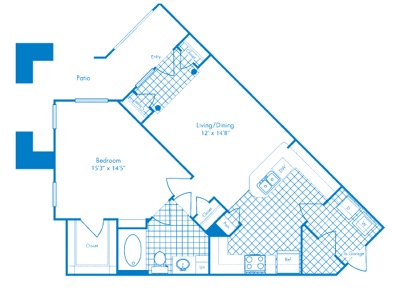 819 sq. ft. Cayman floor plan