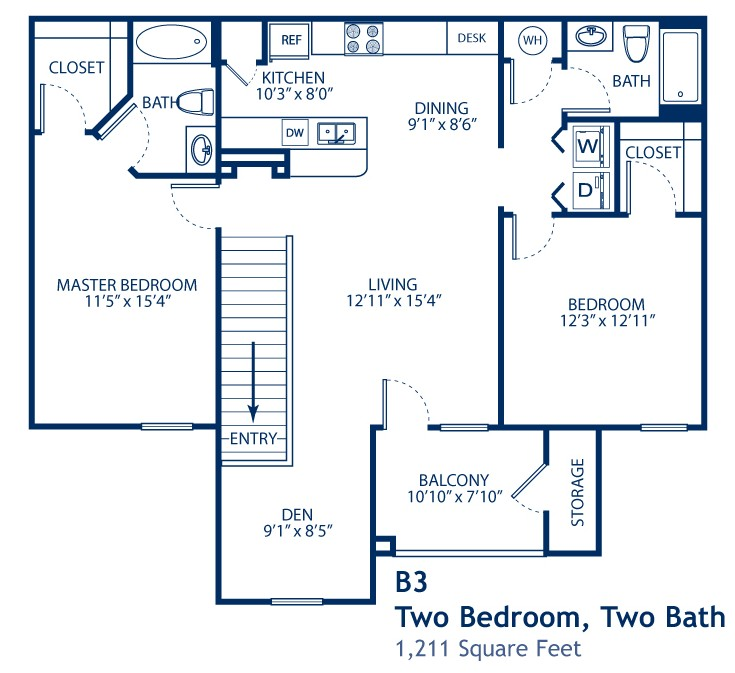 1,211 sq. ft. B3 floor plan