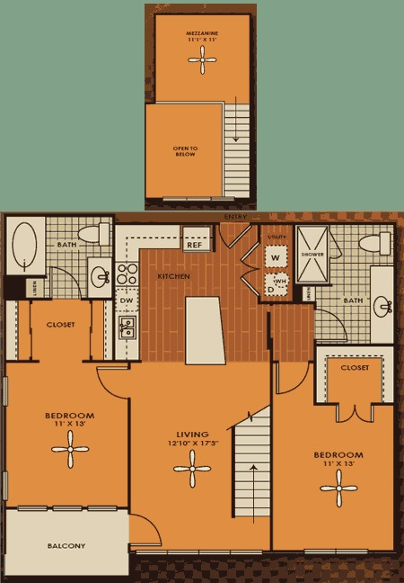 1,168 sq. ft. C1M floor plan