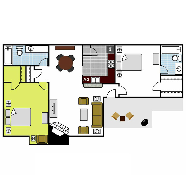 912 sq. ft. Pine floor plan