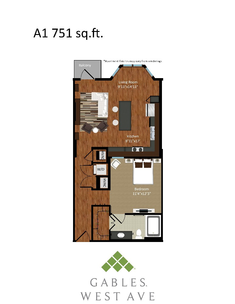 751 sq. ft. A1 floor plan