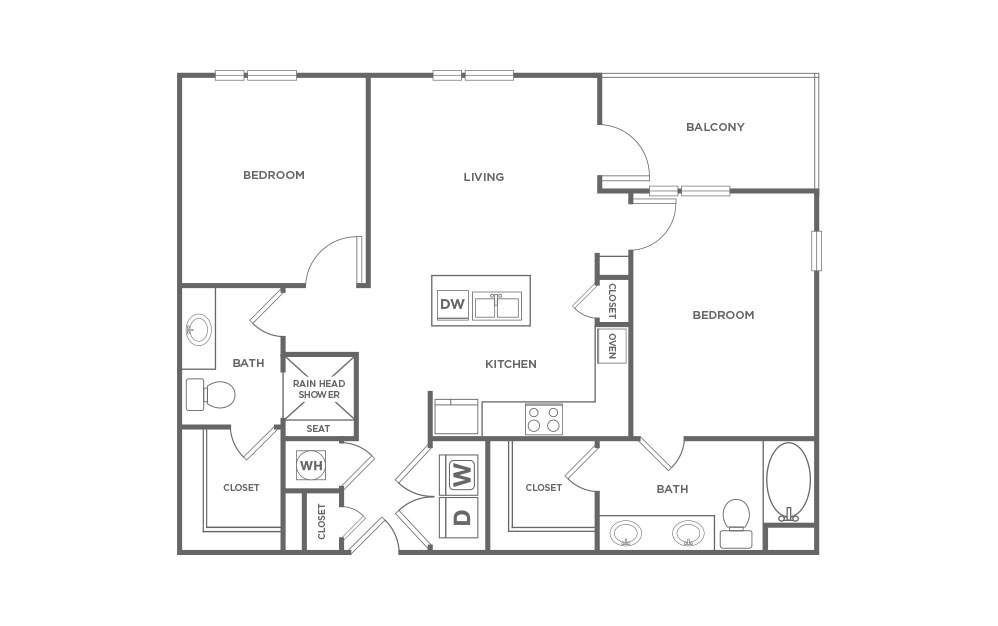 1,110 sq. ft. BC-1 floor plan
