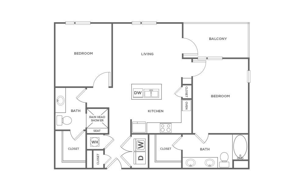 1,110 sq. ft. BC-1 floor plan