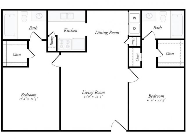 950 sq. ft. Cordoba floor plan