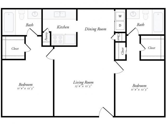 950 sq. ft. Cordoba floor plan