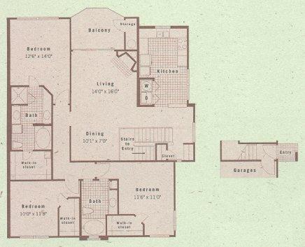 1,628 sq. ft. C2 floor plan