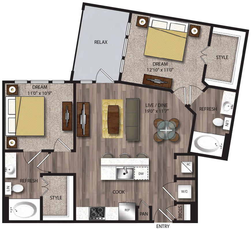 983 sq. ft. B2.1 floor plan