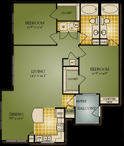 1,147 sq. ft. B2 floor plan