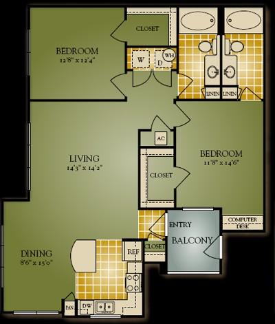 1,147 sq. ft. Glasner floor plan