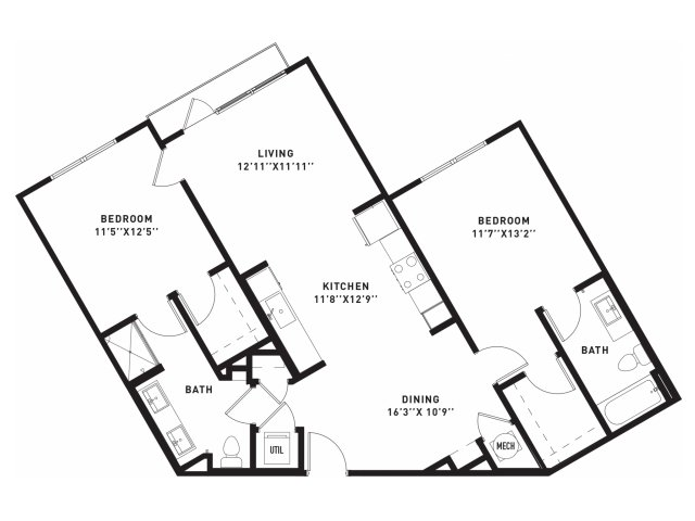 1,138 sq. ft. B7 floor plan