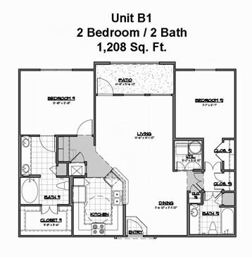 1,208 sq. ft. B1 floor plan