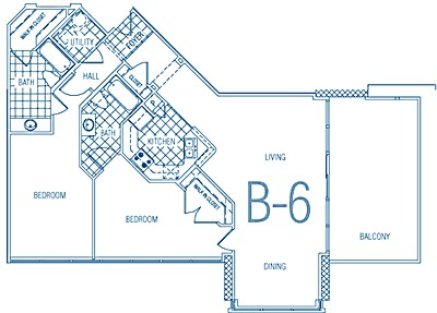 1,231 sq. ft. B6 60% floor plan