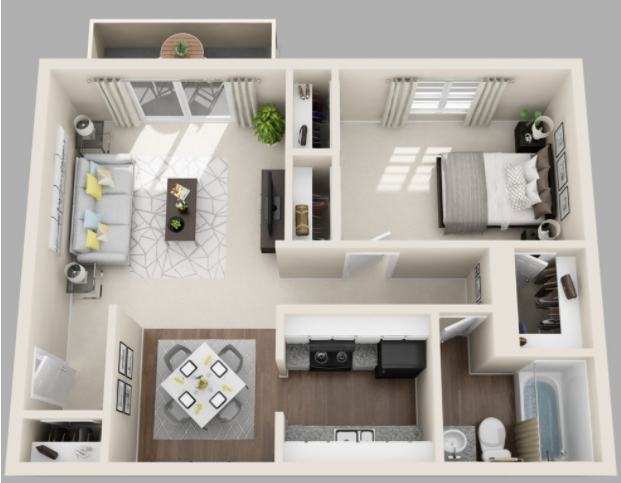 657 sq. ft. floor plan