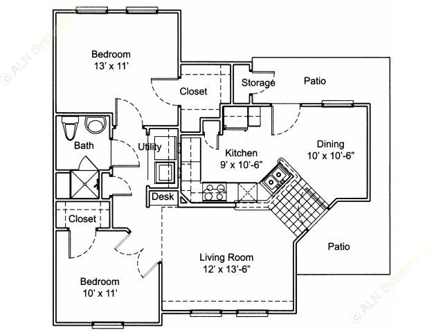920 sq. ft. B1/60% floor plan