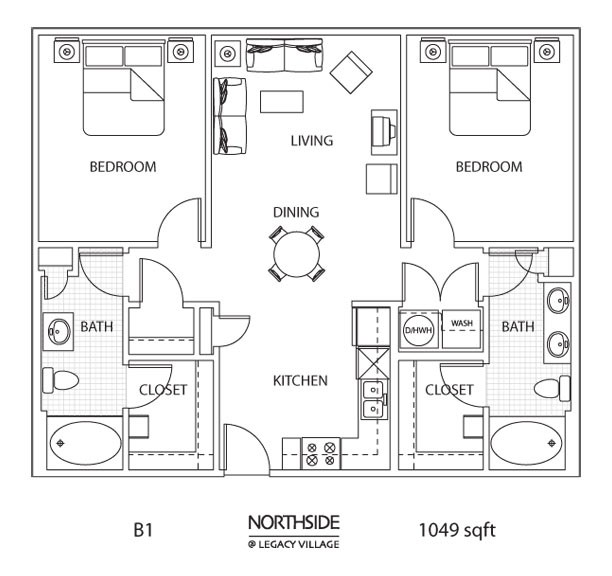 1,049 sq. ft. to 1,121 sq. ft. B1-1 floor plan