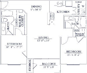 983 sq. ft. 50% floor plan