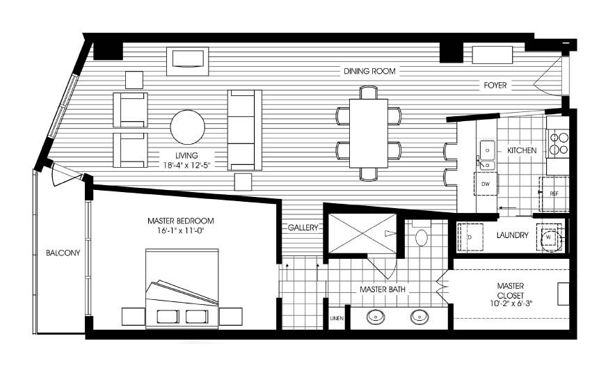 1,135 sq. ft. A2 floor plan