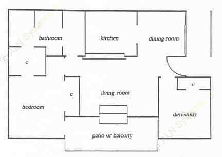 790 sq. ft. Park floor plan