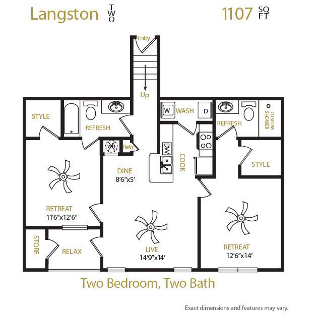 1,107 sq. ft. Langston 2 floor plan