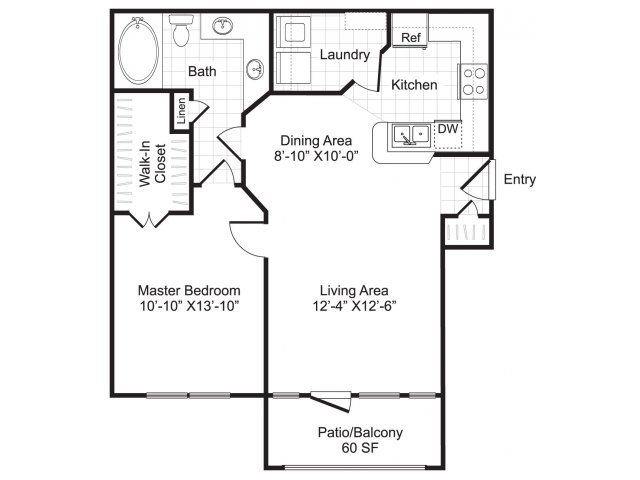 736 sq. ft. A1 floor plan