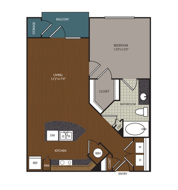 725 sq. ft. to 790 sq. ft. Rhodes floor plan