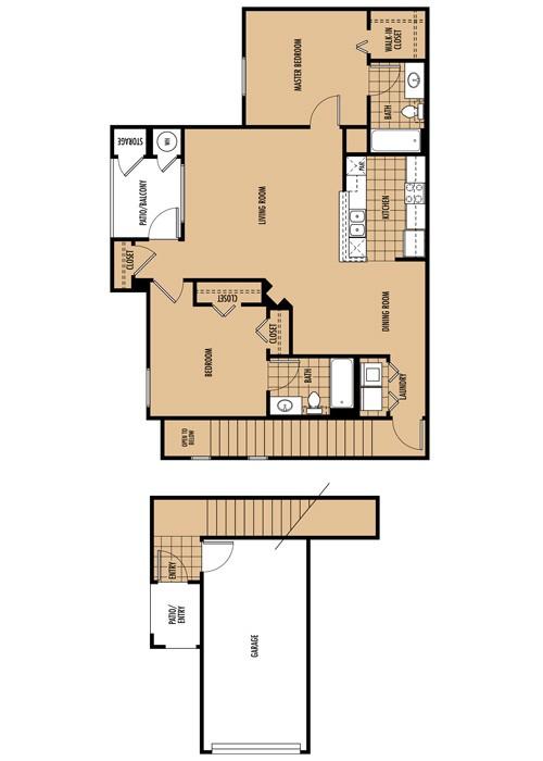 1,085 sq. ft. B2 floor plan