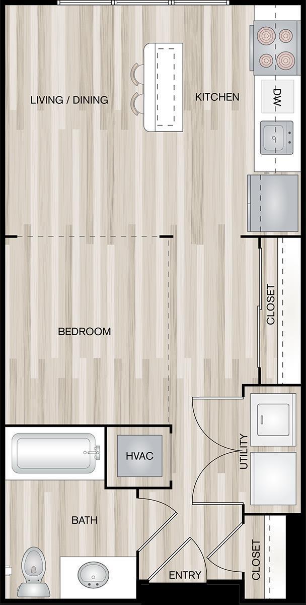 504 sq. ft. A0-Tugg floor plan