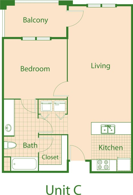 780 sq. ft. Bluejay/30% floor plan