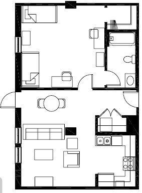 766 sq. ft. A8 floor plan