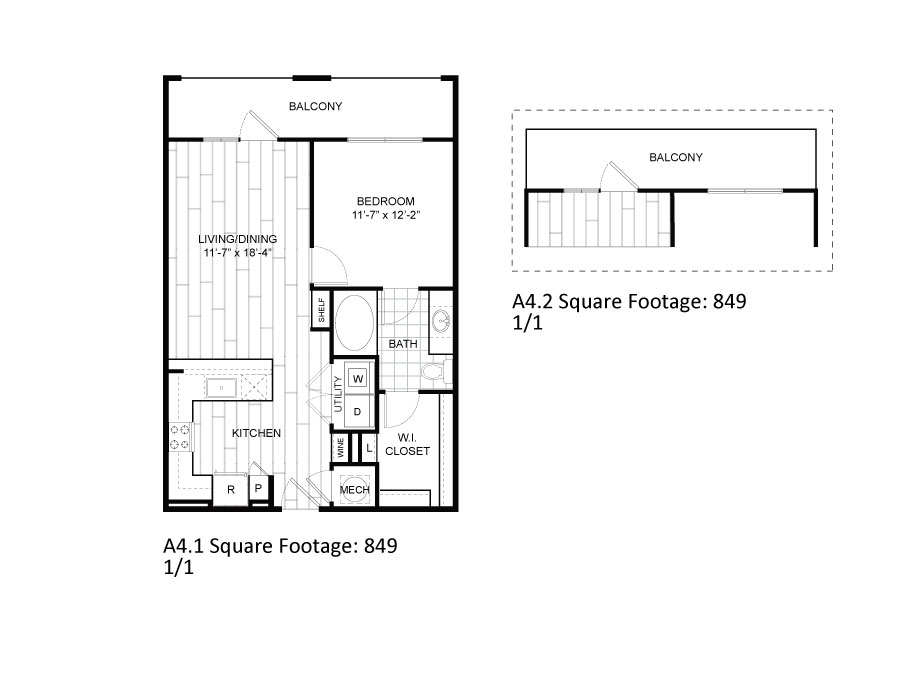 849 sq. ft. A4.1 floor plan