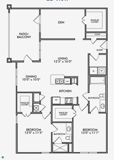 1,334 sq. ft. B2.1/B2.2 floor plan