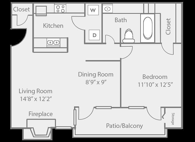 796 sq. ft. A2 floor plan