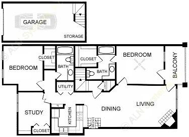 1,181 sq. ft. B4-GAR. floor plan