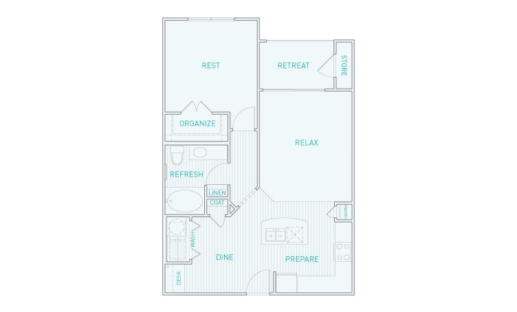 775 sq. ft. A3 floor plan