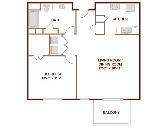 840 sq. ft. to 940 sq. ft. Neches floor plan