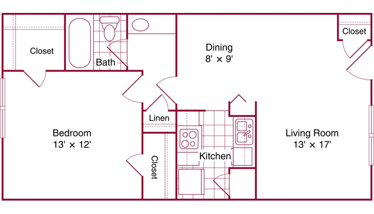 702 sq. ft. Fairchild floor plan