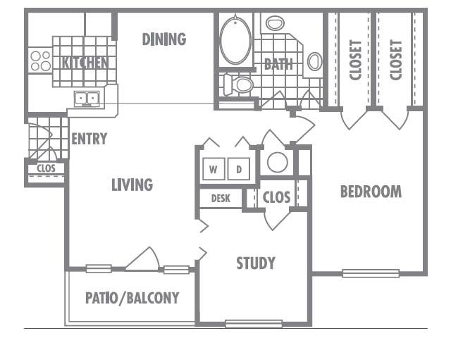 1,008 sq. ft. E1 floor plan