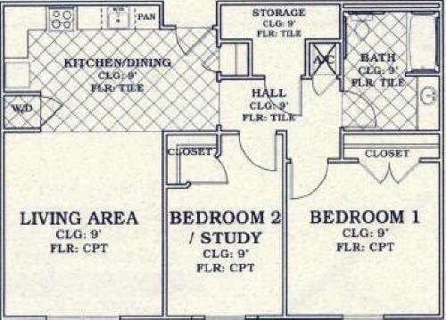 936 sq. ft. 50% floor plan