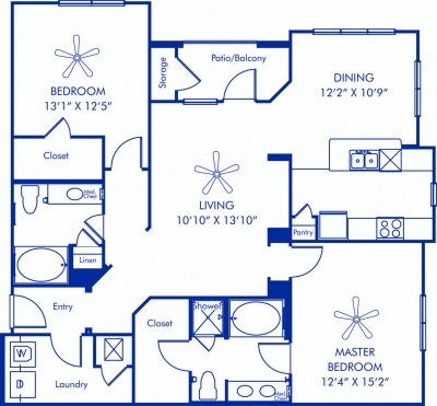 1,312 sq. ft. Acquitaine floor plan