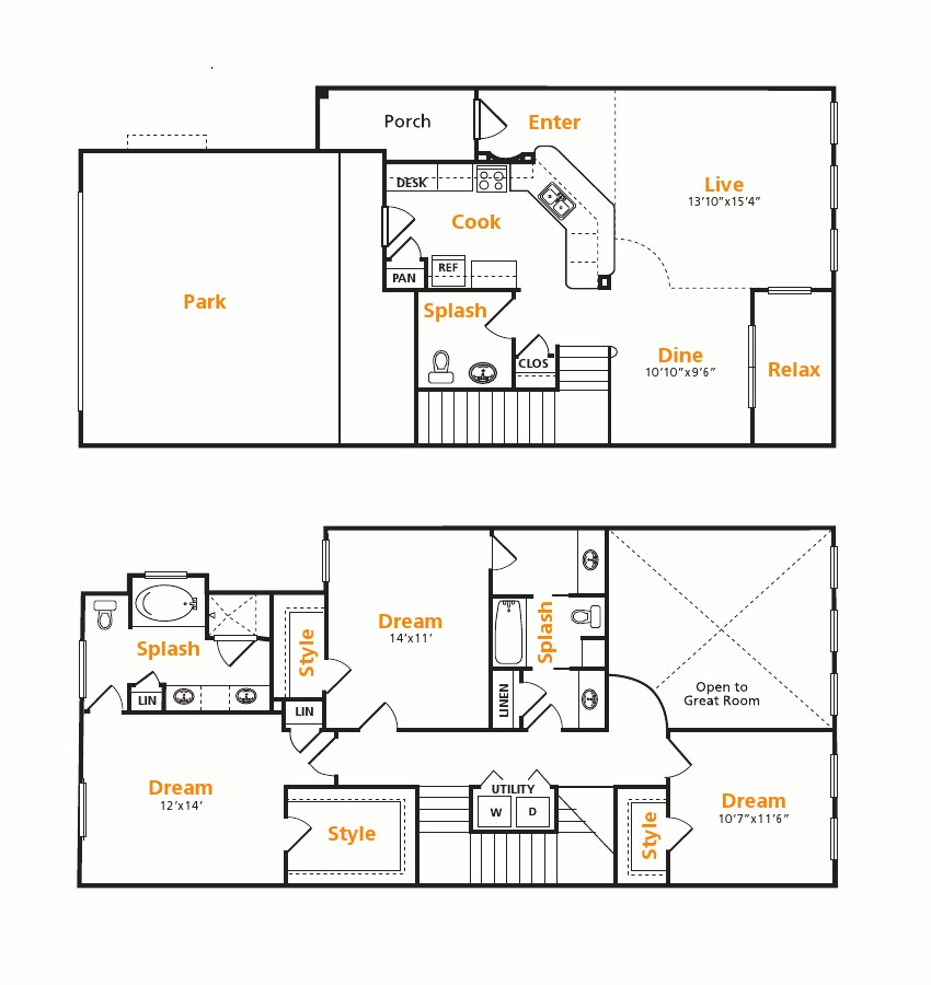 1,696 sq. ft. Townhome floor plan