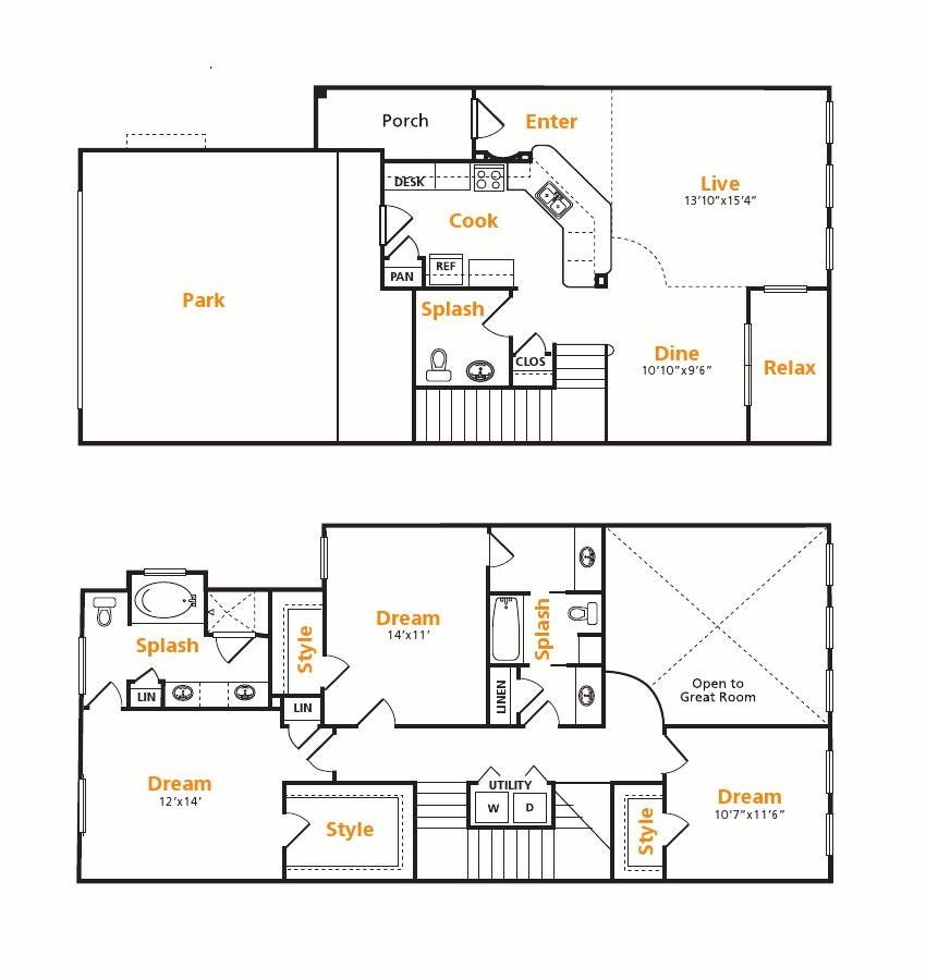1,696 sq. ft. TH floor plan