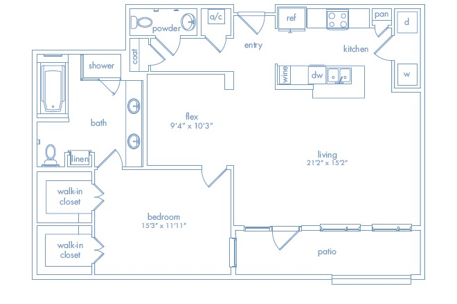 1,221 sq. ft. MIRO ONE floor plan