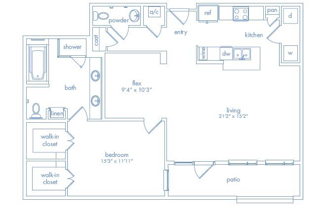 1,221 sq. ft. Miro One floor plan