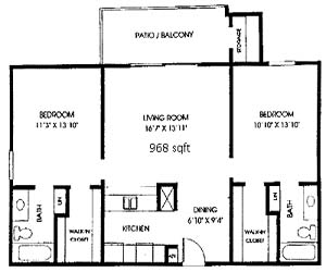 968 sq. ft. B3 floor plan