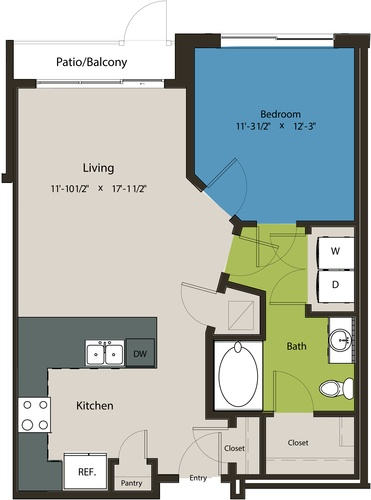 736 sq. ft. A1L floor plan