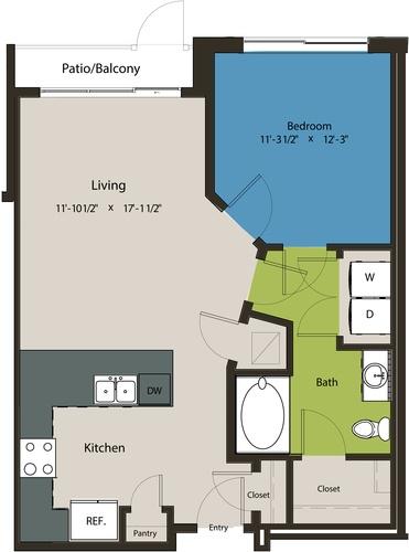 736 sq. ft. A1L floor plan