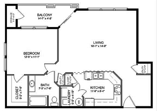 982 sq. ft. A3 floor plan