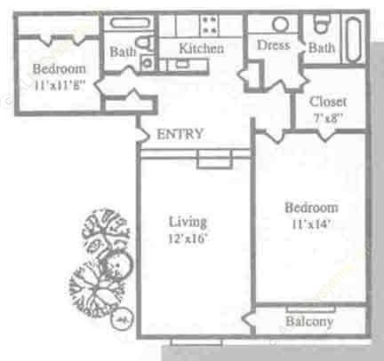 1,046 sq. ft. B2 floor plan